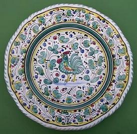 Green Orvieto Scalloped Round Serving Plate